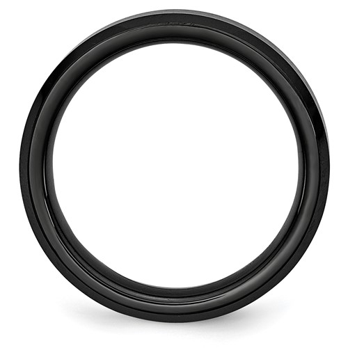 Chisel Black Ceramic Beveled Edge 6mm Brushed and Polished Band
