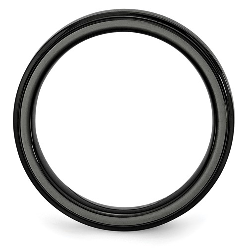 Chisel Black Ceramic Ridged Edge 6mm Brushed and Polished Band