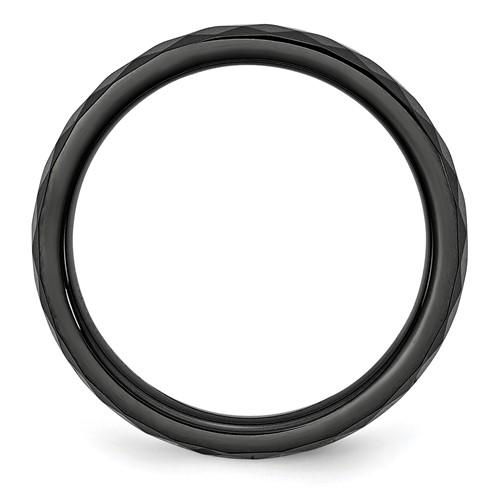 Chisel Ceramic Black 4mm Faceted Polished Band