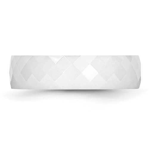 Chisel Ceramic White 6mm Faceted Polished Band