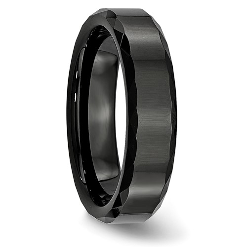 Chisel Ceramic Black Faceted Edge 6mm Polished Band