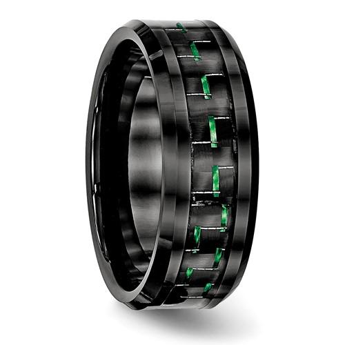 Ceramic Black with Green Carbon Fiber Inlay Beveled Edge Ring