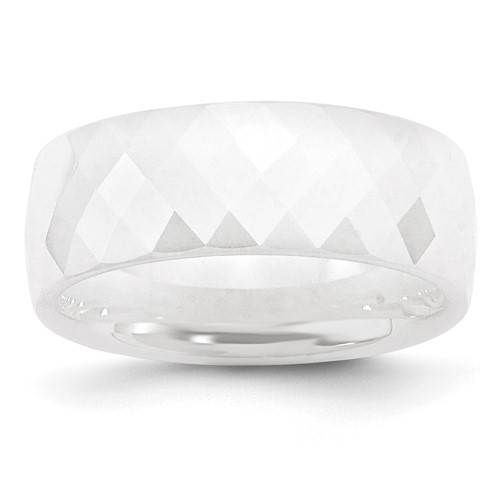 Chisel Ceramic White Faceted 8mm Polished Band