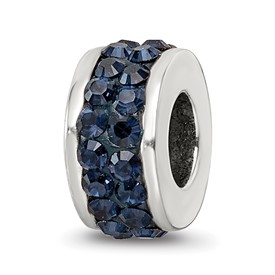 Reflection Beads Sterling Silver Dark Blue Double Row Swarovski Elements Bead