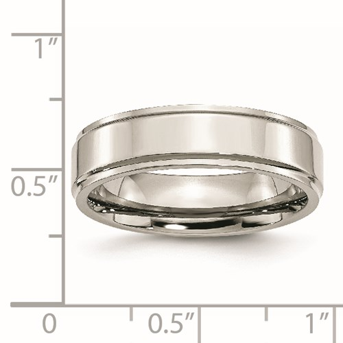 Chisel Stainless Steel Ridged Edge 6mm Polished Band