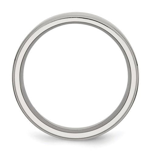 Chisel Stainless Steel Ridged Edge 8mm Polished Band