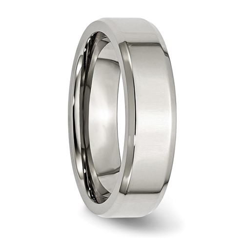 Chisel Stainless Steel Beveled Edge 6mm Polished Band