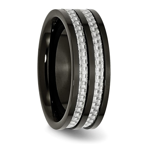 Chisel Stainless Steel 8mm Black-plated with Carbon Fiber Inlay Band