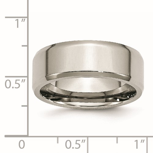 Chisel Stainless Steel Beveled Edge 8mm Polished Band