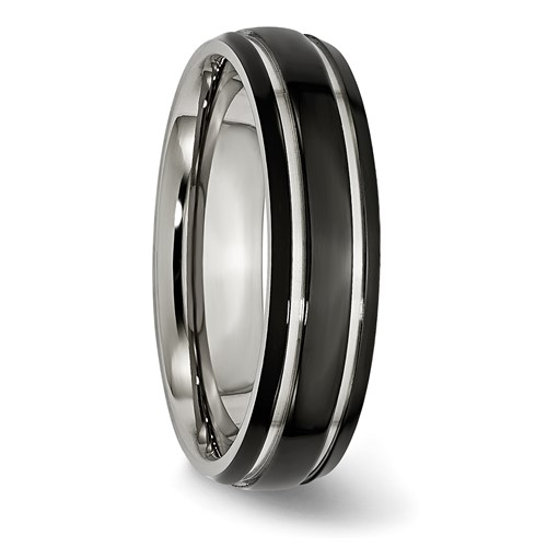 Chisel Stainless Steel 6mm Black-plated Band