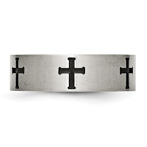 Chisel Stainless Steel 7mm Black-plated Crosses Brushed and Polished Band