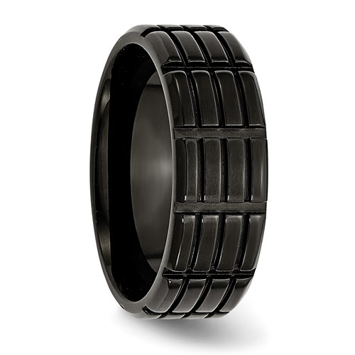 Chisel Stainless Steel 8mm Black-plated Grooved Brushed Band