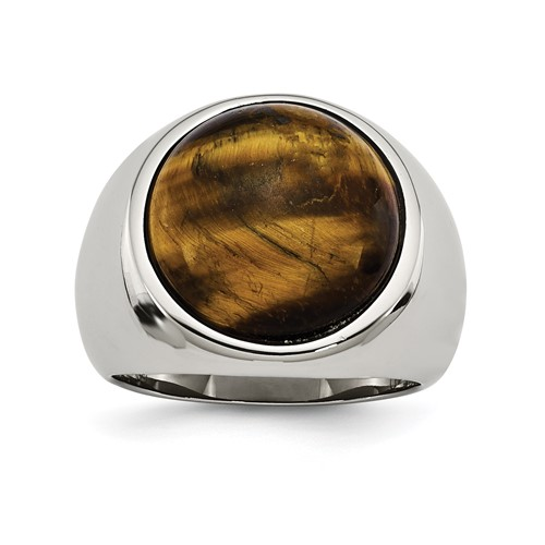 Chisel Stainless Steel Tiger's Eye Ring