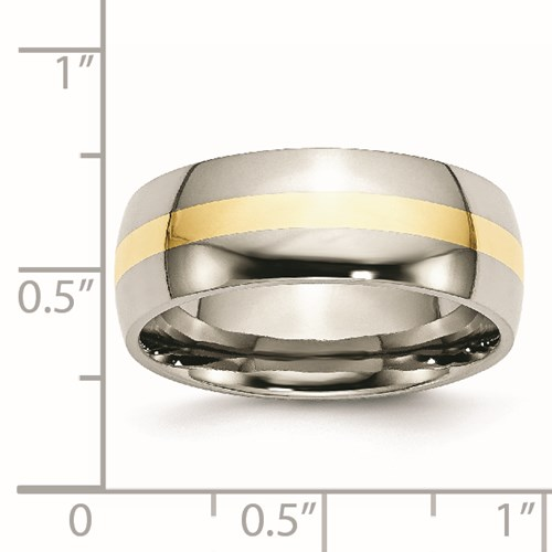 Chisel Stainless Steel and 14k Gold Inlay 8mm Polished Band