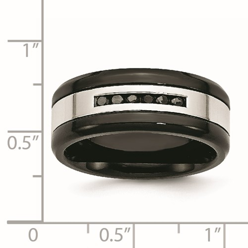 Chisel Stainless Steel Black-plated Polished Black Diamond Ring