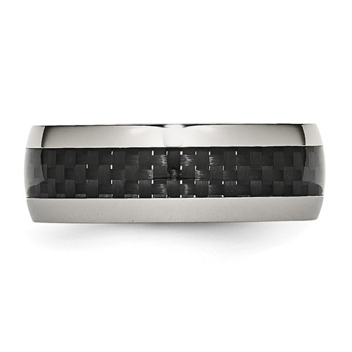 Chisel Stainless Steel and Carbon Fiber 8mm Polished Band