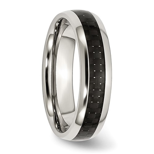Chisel Stainless Steel and Black Carbon Fiber 6mm Polished Band