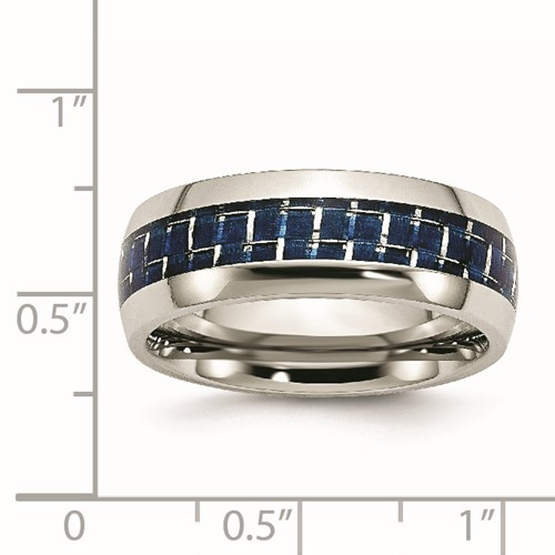Chisel Stainless Steel Polished Band with Blue Carbon Fiber Inlay