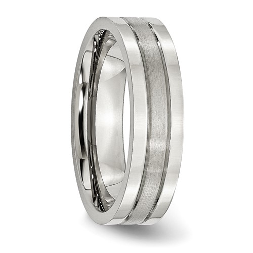 Chisel Stainless Steel Flat 6mm Brushed and Polished Band