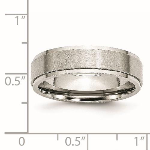 Chisel Stainless Steel Ridged Edge 6mm Brushed and Polished Band