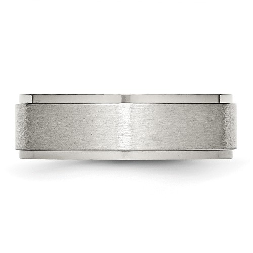 Chisel Stainless Steel Ridged Edge 7mm Brushed and Polished Band
