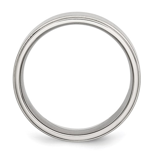 Chisel Stainless Steel Ridged Edge 8mm Brushed and Polished Band