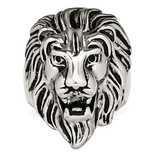 Stainless Steel Polished and Antiqued Lion Ring