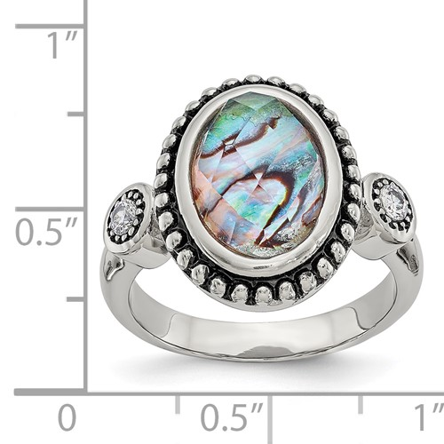 Stainless Steel Polished and Antiqued Synthetic Abalone and CZ Ring