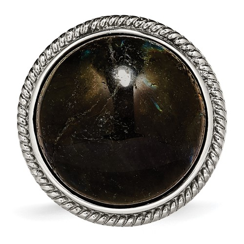 Stainless Steel Polished Labradorite Textured Ring