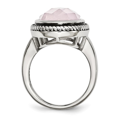 Stainless Steel Polished and Antiqued Rose Quartz Ring
