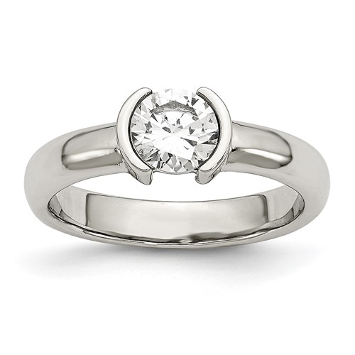Stainless Steel Polished CZ Ring