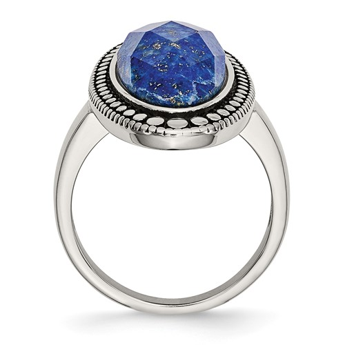 Stainless Steel Polished and Antiqued Blue Lapis Ring