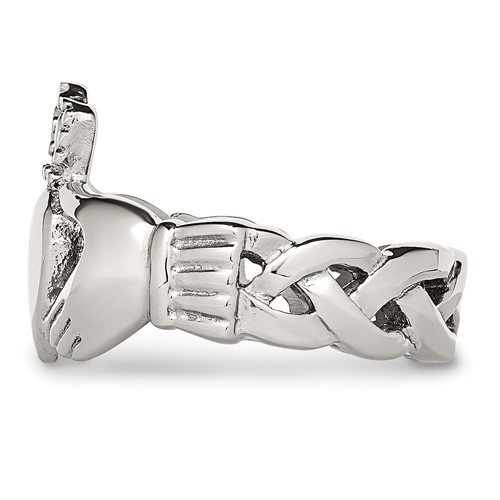 Stainless Steel Polished Braided Claddagh Ring