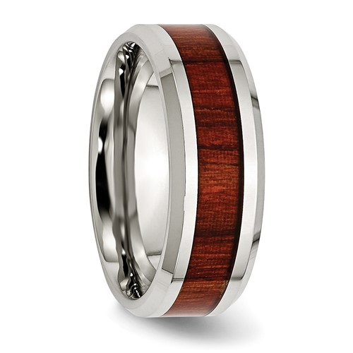 Stainless Steel Polished Red Wood Inlay Enameled 8.00mm Ring