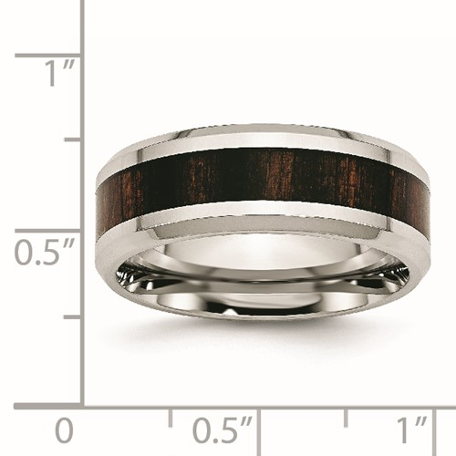 Stainless Steel Polished Black Wood Inlay Enameled 8.00mm Ring