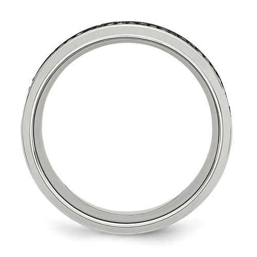Stainless Steel Polished Diamond Band
