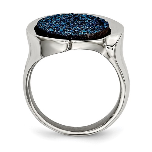 Stainless Steel Polished with Blue Druzy Stone Ring