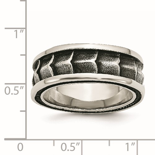 Stainless Steel Polished and Antiqued 9mm Band