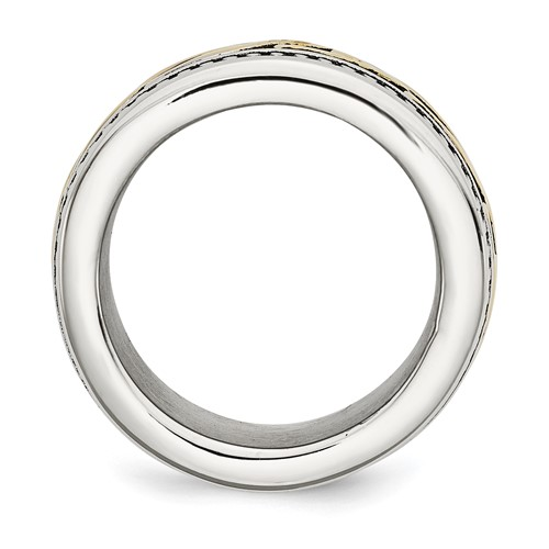 Stainless Steel Antiqued and Yellow IP-plated 13.25mm Ring