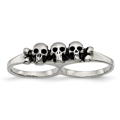 Stainless Steel Polished and Antiqued Two Finger Skulls Ring