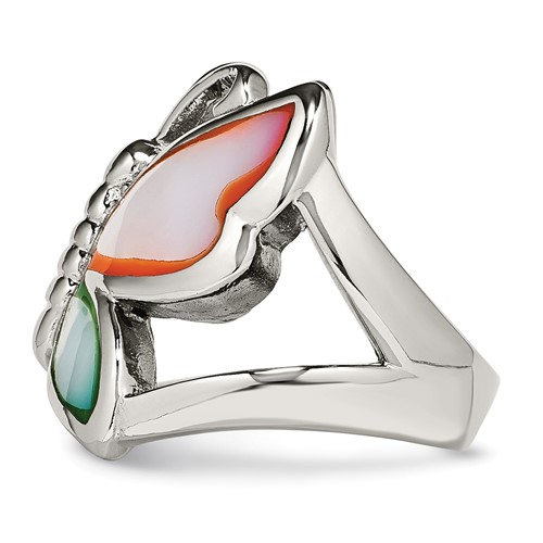 Stainless Steel Polished and Enameled Shell Butterfly Ring