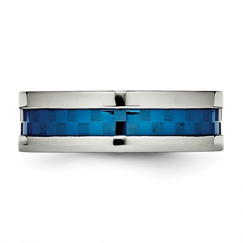 Stainless Steel Polished Blue IP-plated 7.00mm Band
