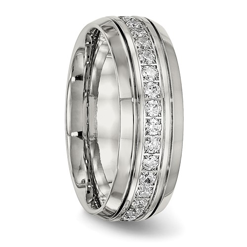 Stainless Steel Polished Half Round Grooved CZ Ring