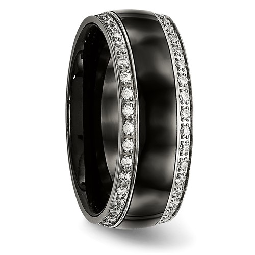 Stainless Steel Polished Black Ceramic CZ Ring