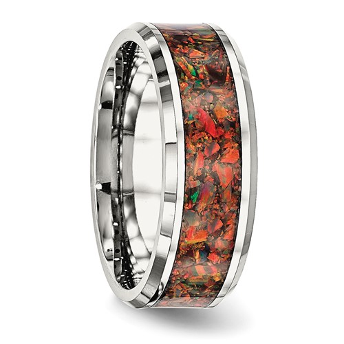 Stainless Steel Polished with Red Imitation Opal 8mm Men's Ring