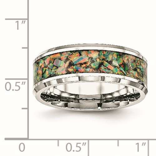 Stainless Steel Polished with Imitation Opal 8mm Men's Ring