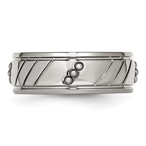 Stainless Steel Polished Beaded Grooved Ring