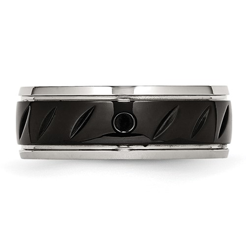 Stainless Steel Polished Black IP Grooved Ring