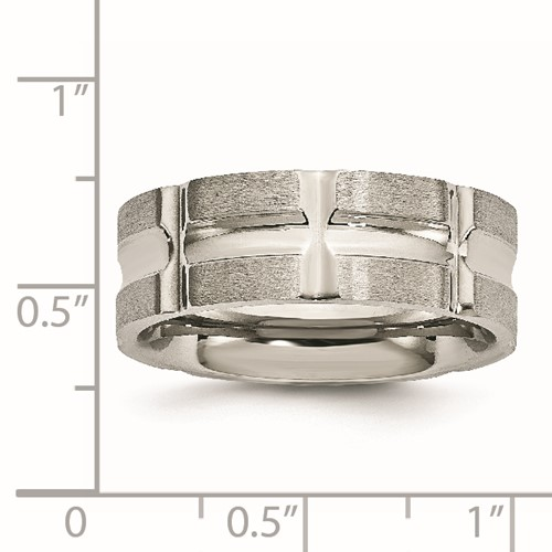Stainless Steel Brushed and Polished Grooved Ring
