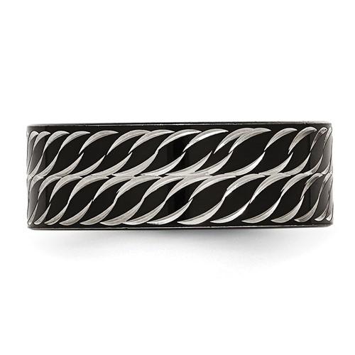 Stainless Steel Polished Black IP Diamond-Cut Ring